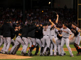 Texas Rangers v. San Francisco Giants, Game 5:  San Francisco Giants celebrate their 3-1 victory Photographic Print by Doug Pensinger
