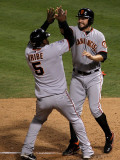 Texas Rangers v. San Francisco Giants, Game 5:  Cody Ross, Juan Uribe Photographic Print by Stephen Dunn