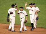 Texas Rangers v San Francisco Giants, Game 2: Edgar Renteria, Andres Torres, Mike Fontenot, Freddy  Photographic Print by Jed Jacobsohn