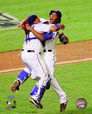 Bengie Molina & Neftali Feliz Celebrate winning the 2010 ALCS Photo