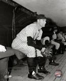 Lou Gehrig in the dugout watching the action. Photo
