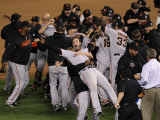 Texas Rangers v. San Francisco Giants, Game 5:  San Francisco Giants celebrate their 3-1 victory Photographic Print by Stephen Dunn