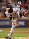 Texas Rangers v. San Francisco Giants, Game 5:  Starting pitcher Tim Lincecum Photographic Print by Ronald Martinez