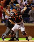 Buster Posey Celebrates Winning Game Five of the 2010 World Series Foto