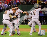 Sandoval, Sanchez, Ross, Renteria, & Uribe Celebrate Game Five of the 2010 World Series Action Fotografía