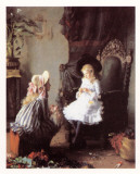 Two Girls Dressing a Doll Art by Leon Delachaux