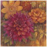 Autumn Dahlias I Print by Vera Hills