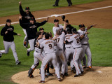 Texas Rangers v. San Francisco Giants, Game 5:  San Francisco Giants celebrate their 3-1 victory Photographic Print by Elsa .