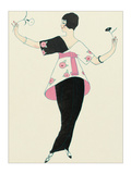 Woman Holding Flowers Giclee Print by Georges Barbier