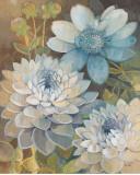 Pretty Blue Dahlias II Art by Vera Hills