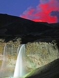 Eyjafjallajokull Volcano Erupting Behind Seljalandsfoss Waterfall, Iceland Photographic Print by Steve And Donna O'Meara