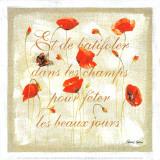 Les Coquelicots au Papillon Prints by Pascal Cessou