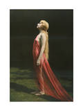 Portrait of a Nude Woman Draped with Red Silk Photographic Print by Franklin Price Knott