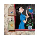 Woman Feeding Bird Giclee Print