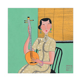 Woman and Stringed Instrument Giclee Print