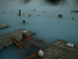 Visitors to Thermal Springs of the Blue Lagoon Photographic Print by Sisse Brimberg