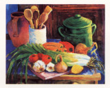 Still Life with Leeks Poster by Wendy Hoile