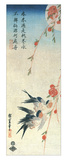 Swallows and Peach Blossoms under a Full Moon Impression giclée par Ando Hiroshige