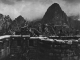 Machu Picchu Ruins on a Semicircular Tower and Masonry Walls Photographic Print by Hiram Bingham