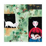 Woman and Two Cats Giclee Print
