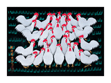 White Chickens Giclee Print