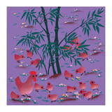 Rooster and Chicks Giclee Print