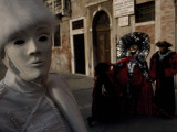 Venetians Walking around Piazza San Marco in Costume During Carnival Photographic Print by Sam Abell