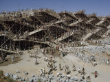 Workers Swarm over Scaffolding to Erect the Nagarjuna Sagar Dam Photographic Print by John Scofield
