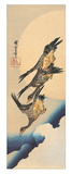 Three Wild Geese Flying Across the Moon Impression giclée par Ando Hiroshige