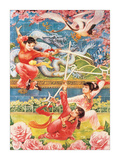 Three Girls Swordfighting Giclee Print