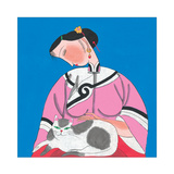 Woman and Cat Giclee Print