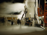 A Launch Crew Pumps Liquid Oxygen into the Pioneer Iv's First Stage Photographic Print by Luis Marden