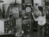 Man Testing Early Television Equipment Photographic Print by Willard Culver