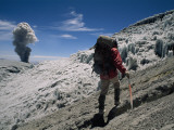 Johan Reinhard Nears the Summit of Erupting Nevado Ampato Volcano Photographic Print by Stephen Alvarez