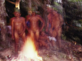Kanamari Men Strip and Slather Themselves with Fruit Seeds in Ritual Photographic Print by Nicolas Reynard