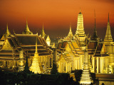 Grand Palace and Temple of the Emerald Buddha, Wat Phra Kaeo Fotografisk tryk af Paul Chesley