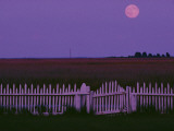 Full Moon Rising over a Picket Fence at Rhodes Point Photographic Print by Robert Madden