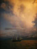 A Tall Ship, Sails Full of Wind, Passes Tahiti Photographic Print by Luis Marden