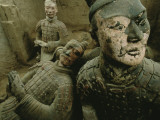 A View of Statues from the Tomb of Emperor Qin Shi Huang Di Photographic Print by O. Louis Mazzatenta
