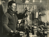 Doctor Edward Atkinson in His Lab During Captain Scott's Expedition Photographic Print by Herbert G. Ponting