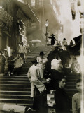 Vendors and Pedestrians Along a Steep Staircase Photographic Print by W. Robert Moore