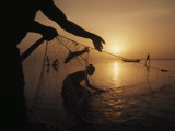 Fishermen Pull Up their Nets at Sunrise Photographic Print by Gordon Gahan