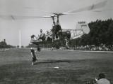 Inventor Charles Kaman Showing Off His K-225 Helicopter Fotografisk tryk af Ernest J. Cottrell