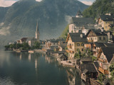 Houses Line the Lake of Hallstatt Photographic Print by W. Robert Moore