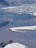 A Hut and Glacier Icefall at Argentina's Almirante Brown Science Base Photographic Print by Gordon Wiltsie
