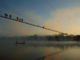 People on a 700-Foot-Long Cable Bridge Spanning the Zambezi River Photographic Print by Chris Johns