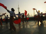 Women Exercise in the Morning by Fan Dancing on the Bund or Wai Tan Photographic Print