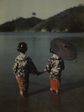 Modestly Attired Japanese Women Wade into Water to Bathe Photographic Print by Kiyoshi Sakamoto