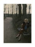 French Woman Sitting on a Park Bench in Early Evening Photographic Print by Maynard Owen Williams
