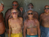 Elderly Swimmers Shower after a Dip in Boston's Dorchester Bay Photographic Print by Joel Sartore